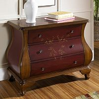 Kendal Red Hand-Painted Floral 3-Drawer Dresser