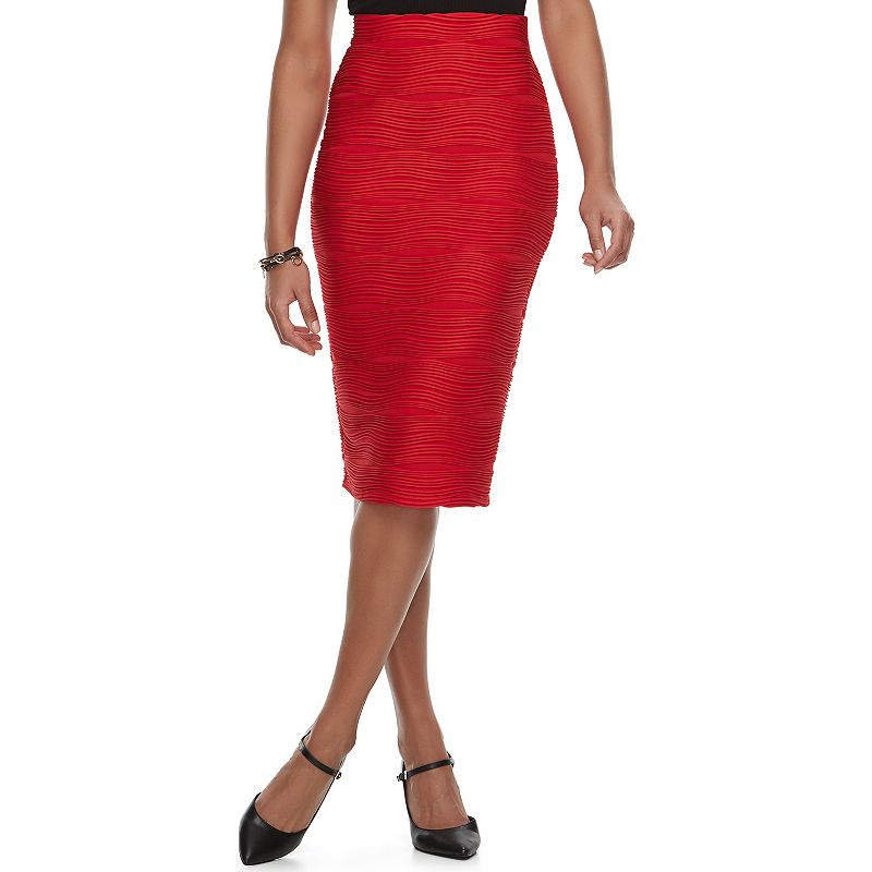 Women's Double Click Jacquard Midi Pencil Skirt