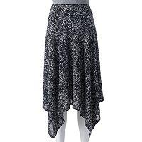 Women's Double Click Print Shark-Bite Hem Skirt