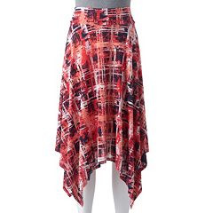 Women's Double Click Print Shark-Bite Hem Skirt