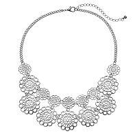 Mudd® Scalloped Openwork Flower Statement Necklace
