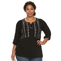 Plus Size Design 365 Lace Embroidery Shirt