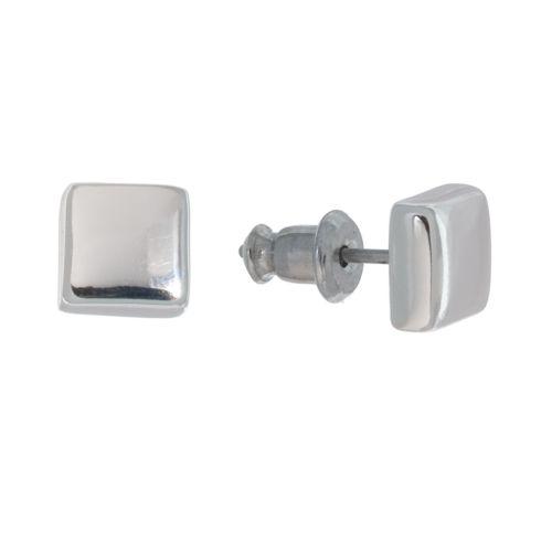Napier Silver-Tone Square Stud Earrings