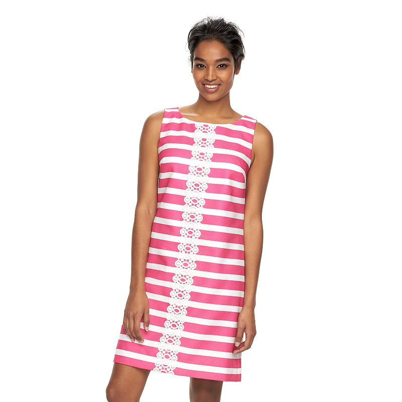 Women's Jessica Howard Embroidered Stripe Shift Dress