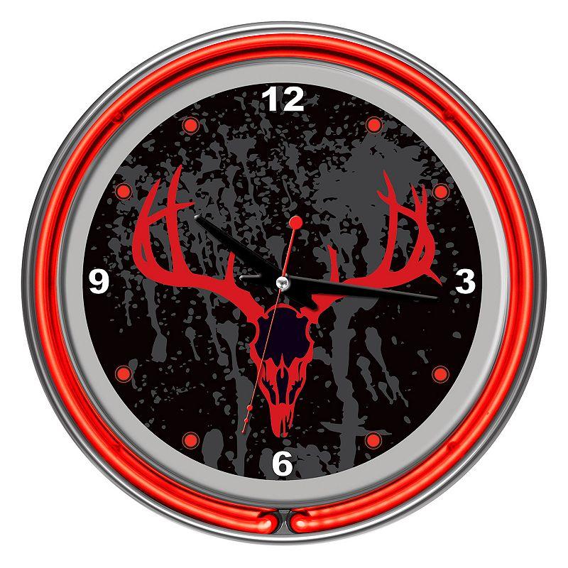 Hunt Skull Double Ring Neon Wall Clock