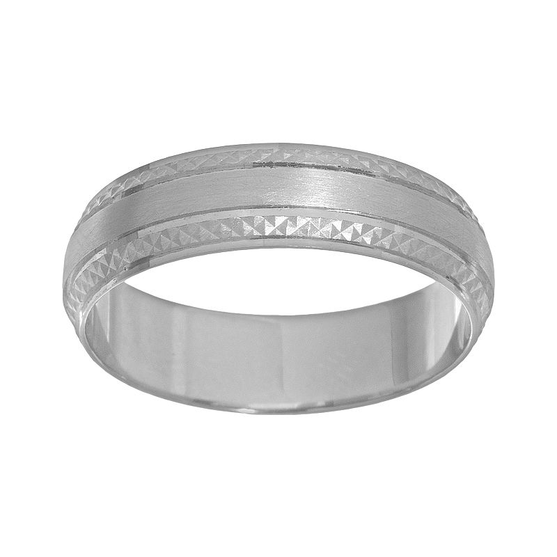 Cherish Always Textured 14k White Gold Wedding Band - Men