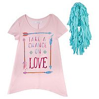 Girls 7-16 & Plus Size Harper & Elliott Sharkbite Graphic Tunic & Scarf Set