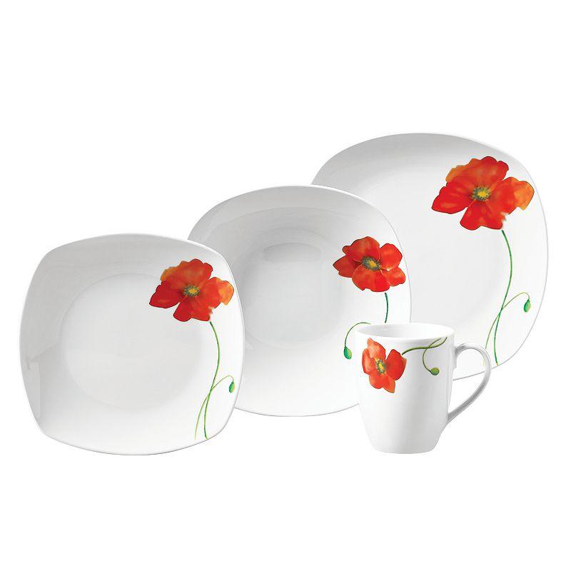 Gallery Poppy 16-pc. Soft Square Dinnerware Set