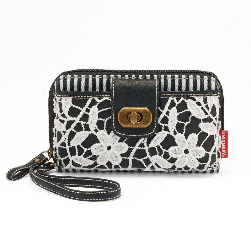 Unionbay Striped & Lace Wristlet