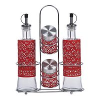 PureLife 5-pc. Red Filigree Condiment Set