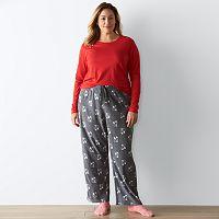 Plus Size SONOMA Goods for Life™ Pajamas: Knit & Microfleece PJ Set with Socks