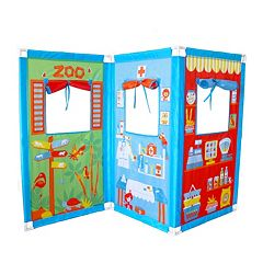 Fun2Give Pop-It-Up Zig Zag Puppet Theatre & 4 Hand Puppets by