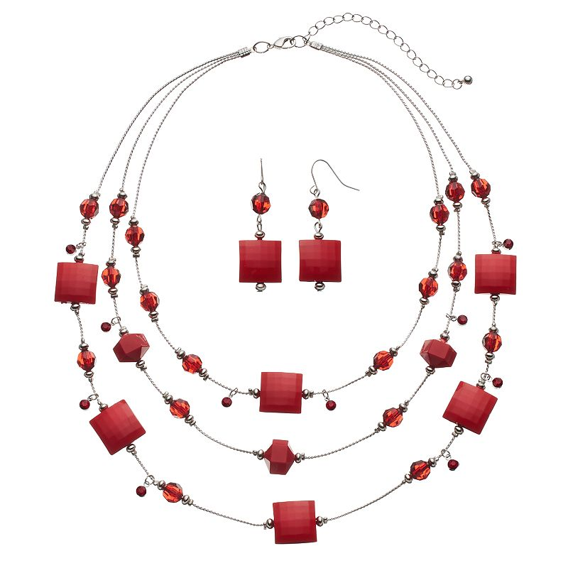 Red Square Bead Multi Strand Necklace & Drop Earring Set