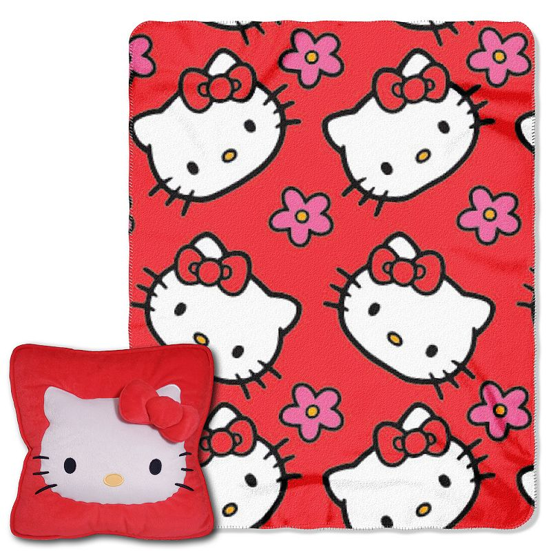 Hello Kitty Kitty Flowers 3D Pillow & Throw Set, Multicolor