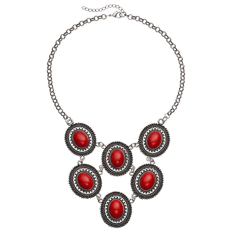 Red Oval Cabochon Statement Necklace