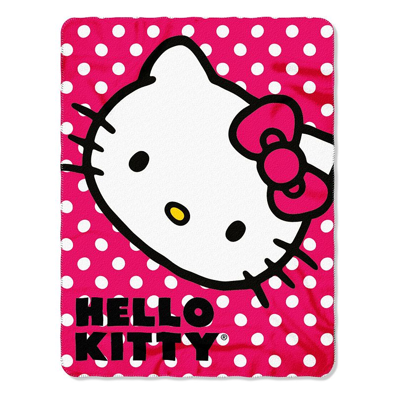 Hello Kitty Polka Dot Kitty Fleece Throw
