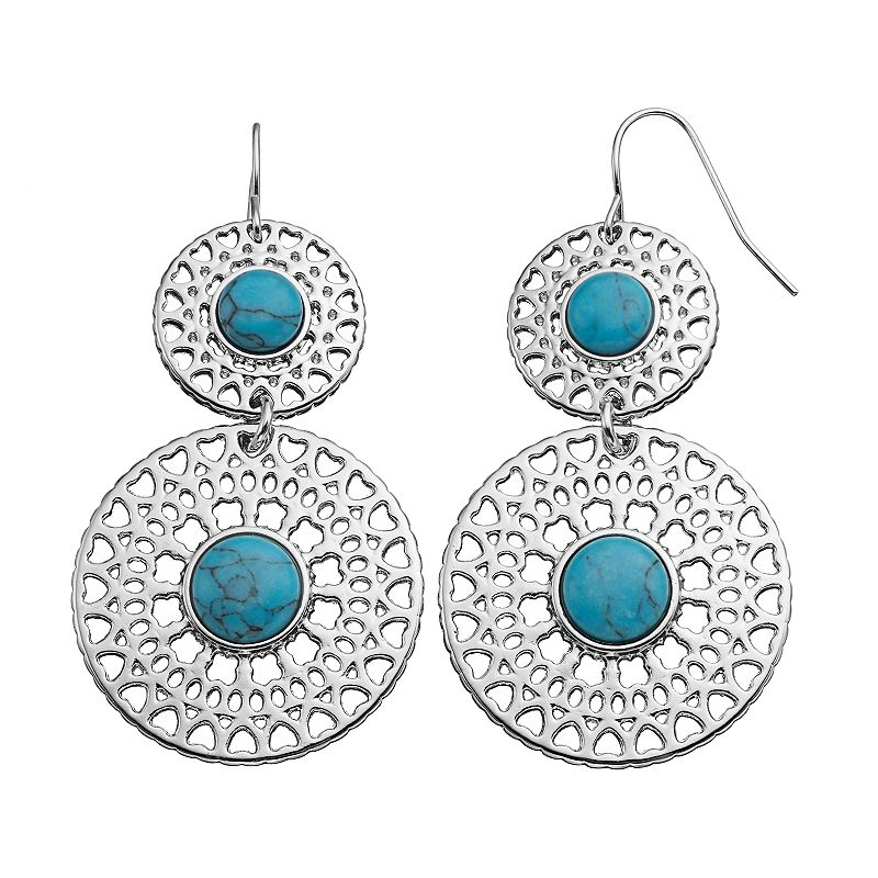 Simulated Turquoise Cabochon Filigree Double Drop Earrings