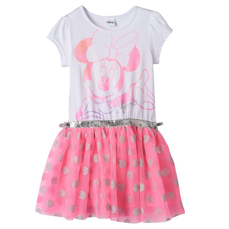 Disney's Minnie Mouse Toddler Girl Neon Glitter Dress