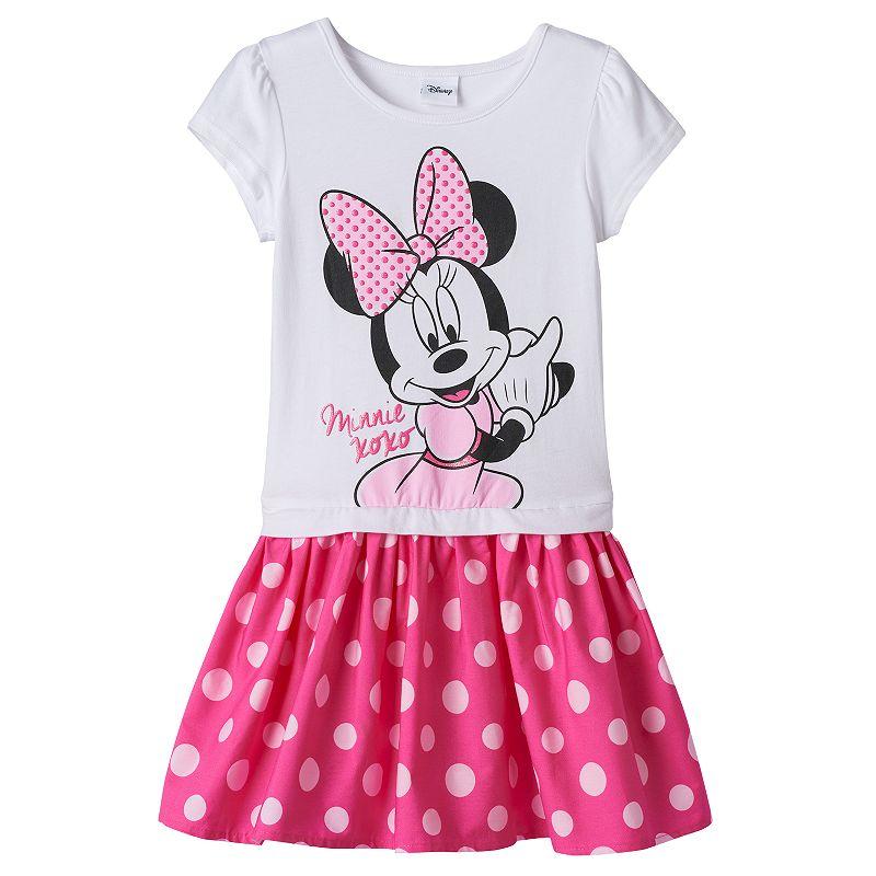 Disney's Minnie Mouse Toddler Girl Mock-Layered Polka-Dot Dress
