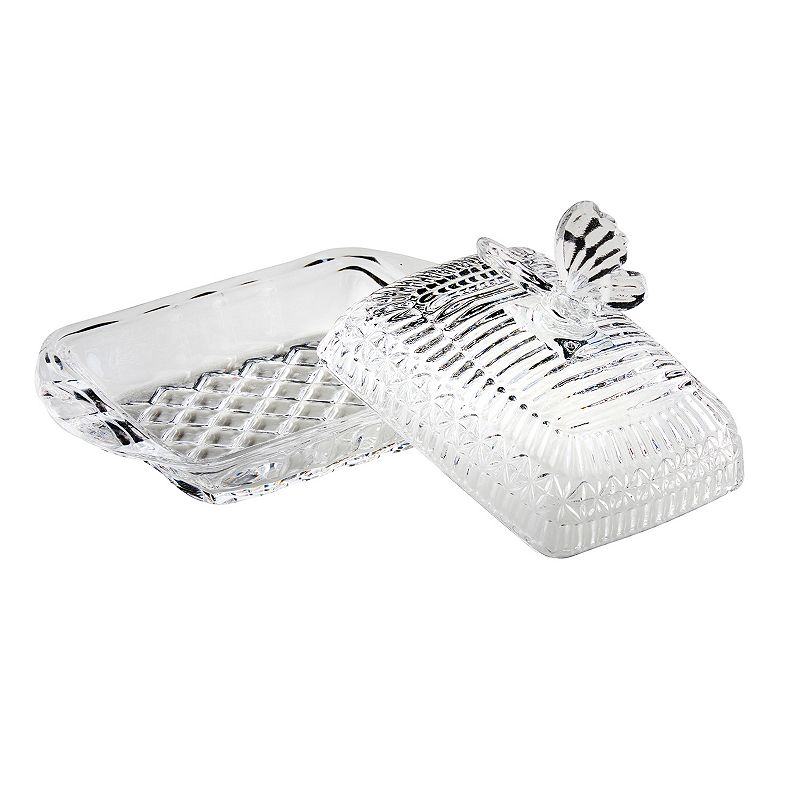 Global Amici Butterfly Covered Glass Butter Dish