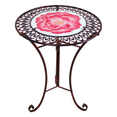 Exhart Red Flower Scallop Outdoor Bistro Table