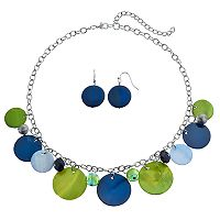 Composite Shell Shaky Disc Necklace & Drop Earring Set