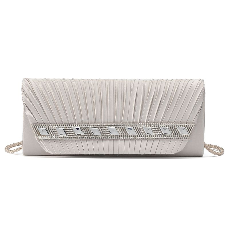 Gunne Sax by Jessica McClintock Lisa Rhinestone Pleated Clutch