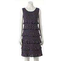 Women's Perceptions Ruffle Polka-Dot Shift Dress