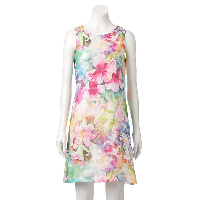 Women's Donna Ricco Floral Mesh Shift Dress