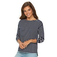 Petite Chaps Striped Zipper Shoulder Tee
