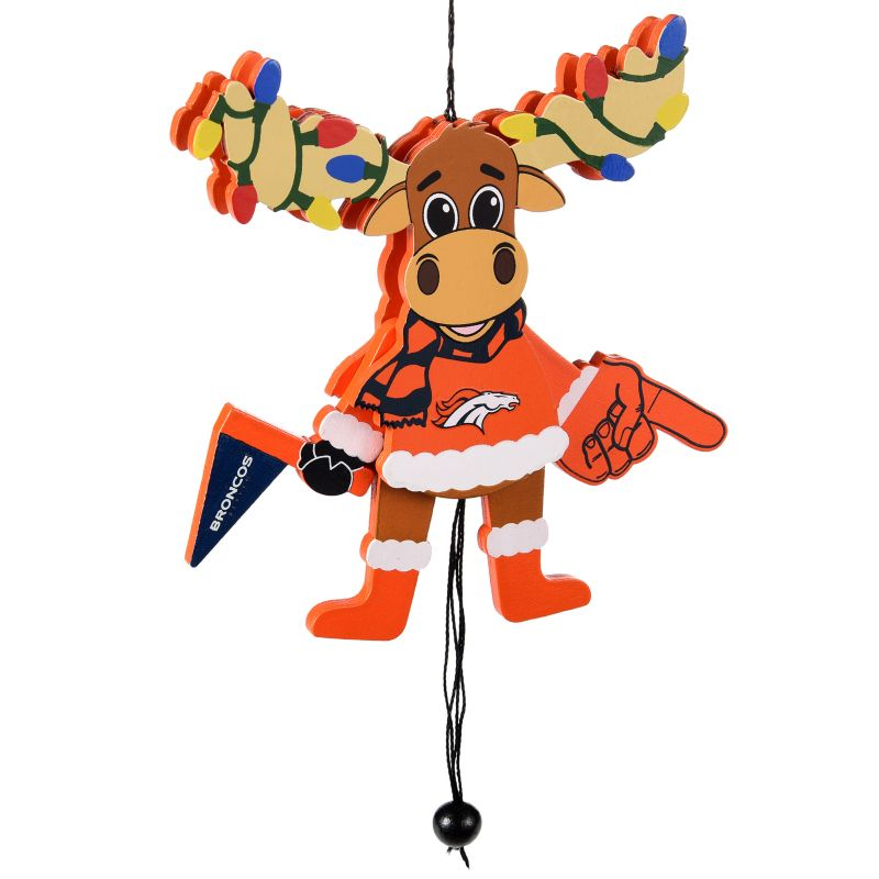 Forever Collectibles Denver Broncos Wooden Moose Christmas Ornament, Multicolor, One Size