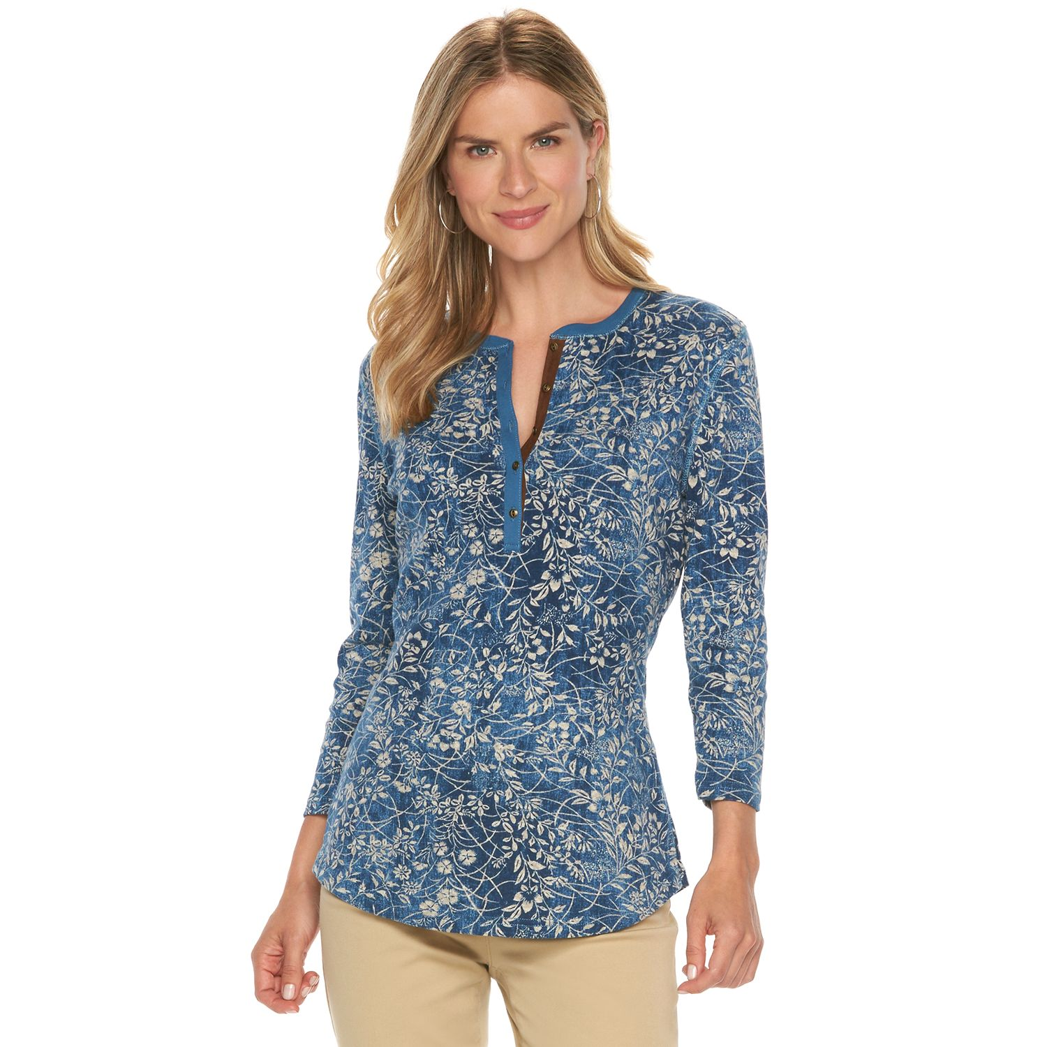 Womens Chaps Floral Knit Henley