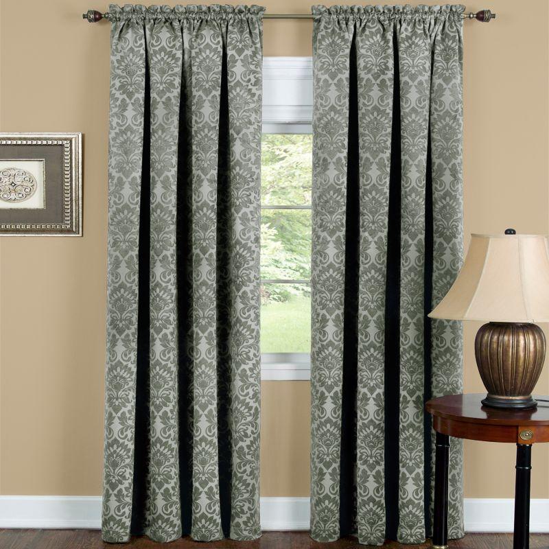 Sutton Damask Blackout Window Curtain, Green thumbnail