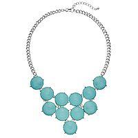 Aqua Round Stone Statement Necklace