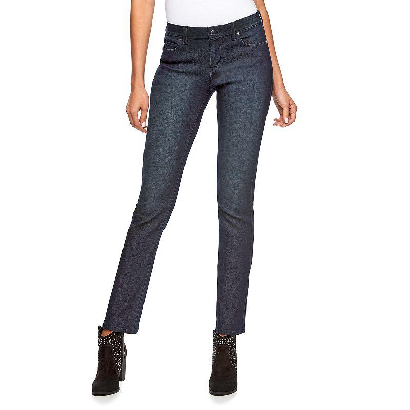 Women's Jennifer Lopez Straight-Leg Jeans, Size: 8 SHORT, Dark Blue