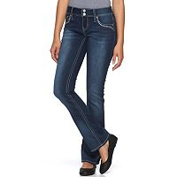 Juniors' Hydraulic Lola 2-Button Embellished Bootcut Jeans