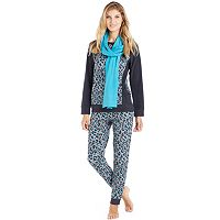 Women's Cuddl Duds Pajamas: Cozy Nights 3-Piece Pajama Set with Scarf