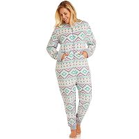 Plus Size Cuddl Duds Pajamas: Star Gazer 1-Piece Microfleece Pajamas