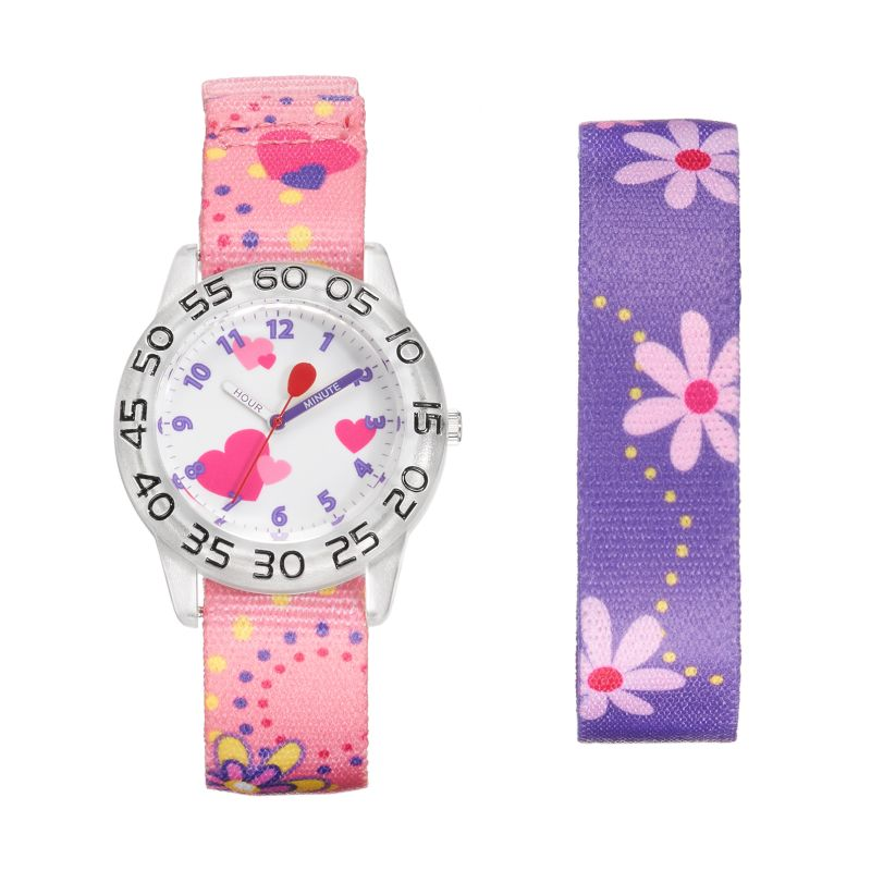 Red Balloon Kids' Time Teacher Watch & Interchangeable Floral Band Set, Girl's, multicolor thumbnail