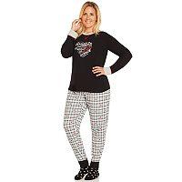 Plus Size Cuddl Duds Pajamas: Winter Wonderland 3-Piece Scoopneck Pajama Set with Socks