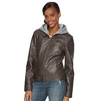 Women's Sebby Collection Hooded Faux-Leather Moto Jacket