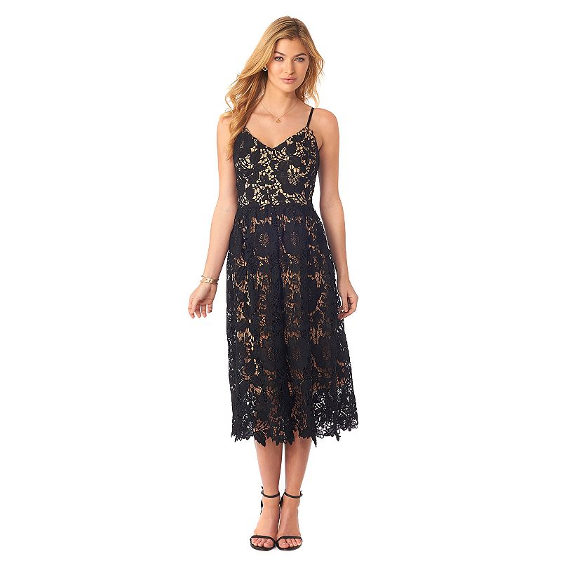 Women's Indication by ECI Floral Lace Midi Fit & Flare Dress