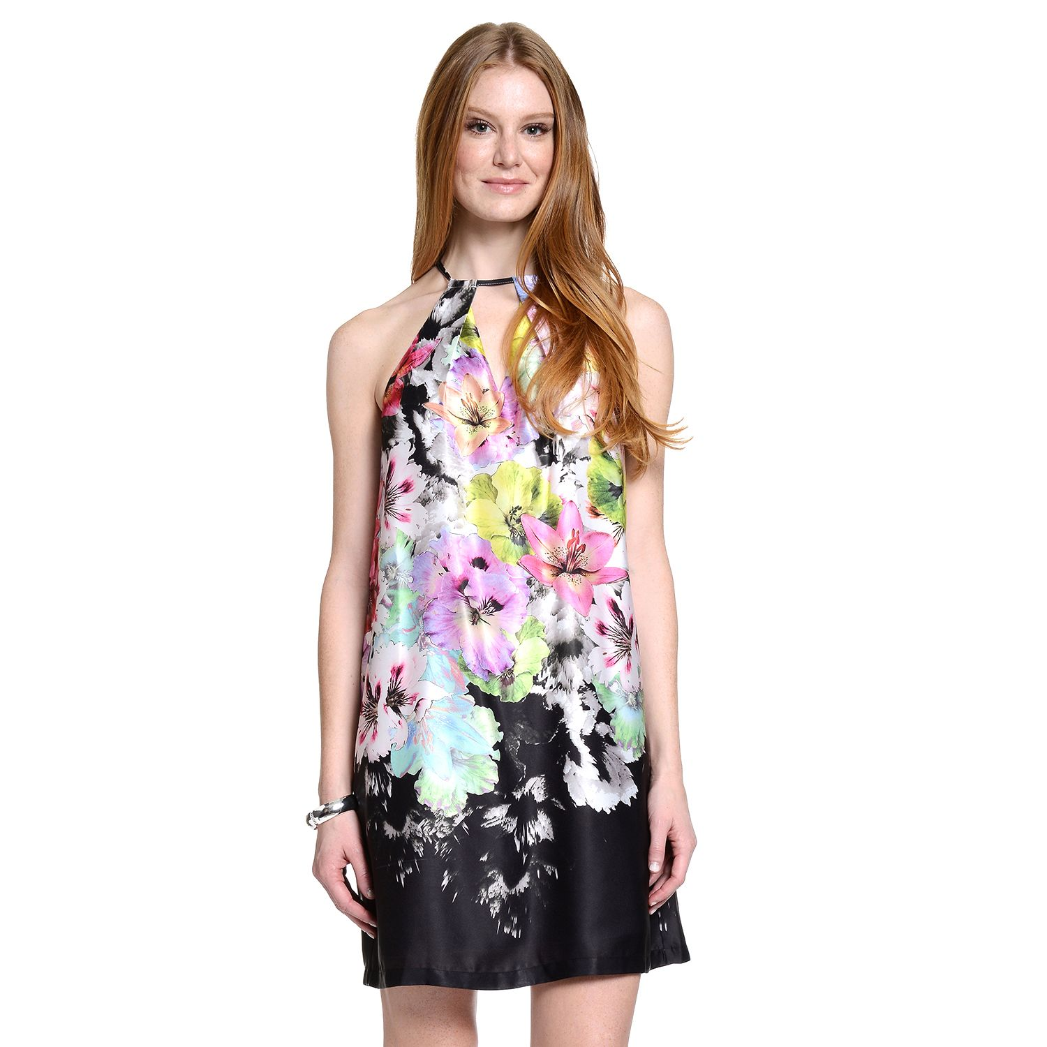 Womens Indication by ECI Floral Halter Shift Dress