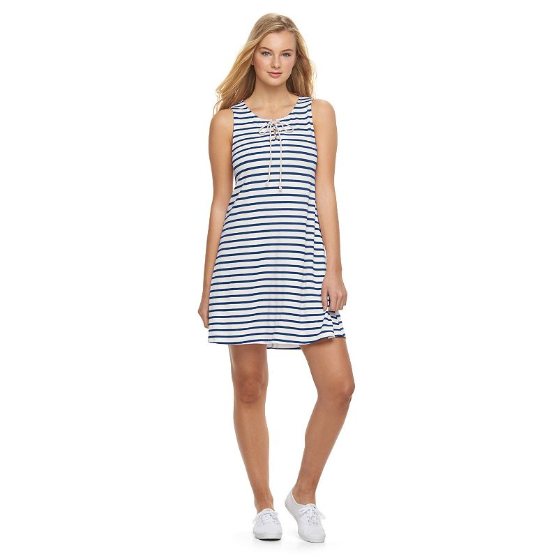 Juniors' About A Girl Lace-Up Swing Dress