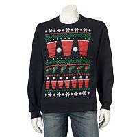 Men's Ugly Christmas Holiday Beer Pong Sweatshirt