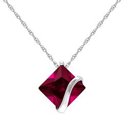 10k White Gold Lab-Created Ruby Square Pendant Necklace by