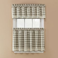 Window Accents Norwalk Plaid Rod Pocket 3-pc. Tier Curtain Set  by