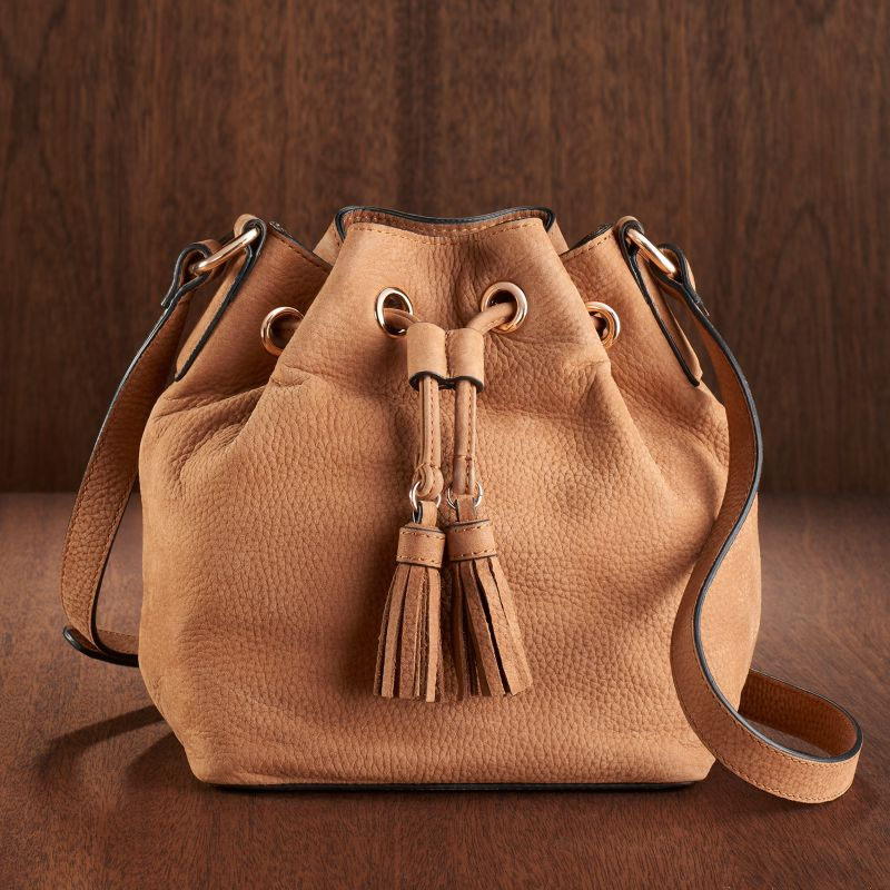 LC Lauren Conrad Runway Collection Leather Bucket Bag, Women's, Brown
