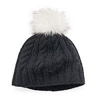 Women's SIJJL Cable-Knit Faux Fur Pom-Pom Wool Beanie