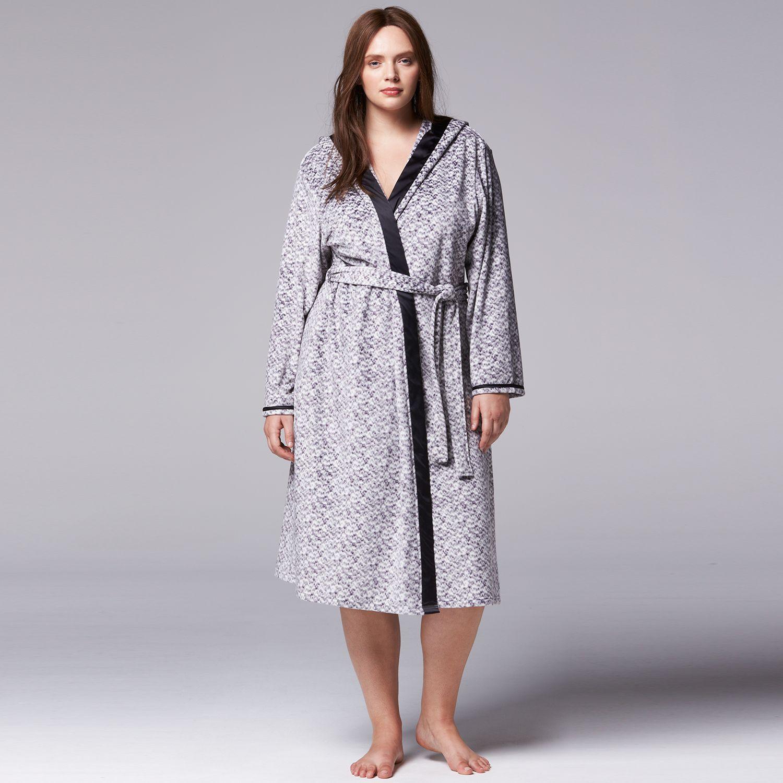 Plus Size Simply Vera Vera Wang Catch Me Cozy Velour Wrap Robe